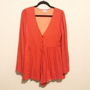 Tobi Long Bell Sleeve Lined Orange Rust Romper